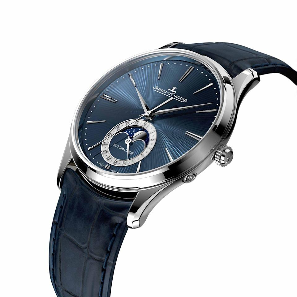 "<p>Master Ultra Thin Moon Enamel</p><p><a class=""link rapid-noclick-resp"" href=""https://www.jaeger-lecoultre.com/eu/en/home-page.html?mid=2300ew625665&mkwid=sIQebCM2J_dc&pcrid=260902043030&kword=%2Bjaeger+%2Blecoultre&match=b&pgrid=59403830851&ptaid=aud-446779405579%3Akwd-20064371538&gclid=Cj0KCQiA-JXiBRCpARIsAGqF8wXu6M6npeGj-9816HEyaON5c_l6vwPWyTtbEi4nKJNLhNJHl05DwfgaAm22EALw_wcB"" rel=""nofollow noopener"" target=""_blank"" data-ylk=""slk:SHOP"">SHOP</a></p><p>Next, a piece that shows off just a few of the remarkable in-house handcraft skills Jaeger-LeCoultre has maintained, including enamel dial-making and hand-guilloché, on a super-elegant moon phase watch with an incredibly thin movement. The Jaeger-LeCoultre Master Ultra Thin Moon Enamel also has a power reserve of 70 hours – meaning you can wear it Monday to Friday and pick it up again at the start of the week, without correcting the date, moon phase or time. The case is white gold, the dial an eye-wateringly deep midnight blue and the hand-workmanship the best in the business.</p><p>£30,900; <a href=""https://www.jaeger-lecoultre.com/eu/en/home-page.html?&mid=2300ew625665&mkwid=sIQebCM2J_dc&pcrid=260902043030&kword=%2Bjaeger%20%2Blecoultre&match=b&plid=&product=&slid=&pgrid=59403830851&ptaid=aud-446779405579:kwd-20064371538&gclid=Cj0KCQiA-JXiBRCpARIsAGqF8wXu6M6npeGj-9816HEyaON5c_l6vwPWyTtbEi4nKJNLhNJHl05DwfgaAm22EALw_wcB"" rel=""nofollow noopener"" target=""_blank"" data-ylk=""slk:jaeger le-coultre.com"" class=""link rapid-noclick-resp"">jaeger le-coultre.com</a></p>"