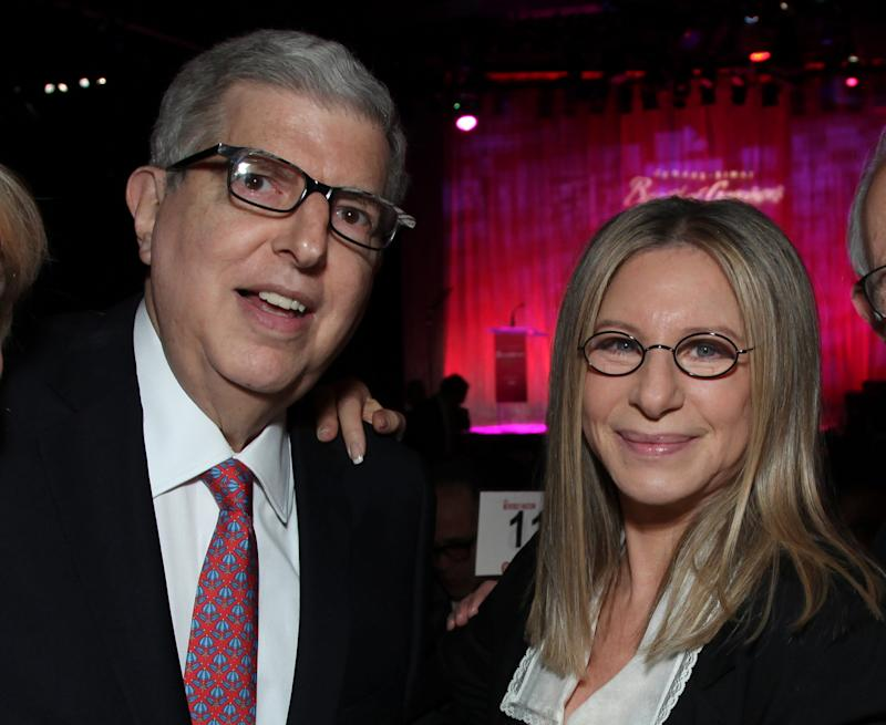 """In this Nov. 8, 2011 file photograph originally released by Cedars-Sinai Medical Center shows composer Marvin Hamlisch, left, and Barbra Streisand at the Cedars-Sinai Board of Governors Gala at The Beverly Hilton Hotel in Beverly Hills, Calif. Hamlisch, a conductor and award-winning composer best known for the torch song """"The Way We Were,"""" died Monday, Aug. 6, 2012 in Los Angeles. He was 68. (AP Photo/Cedars-Sinai Medical Center, Alex J. Berliner, file )"""