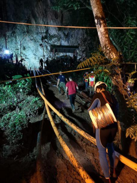 PHOTO: Rescuers work on a plan to extract 12 boys and their soccer coach trapped inside the Tham Luang Nang Non cave, Chiang Rai province, Thailand. (Asaf Zmirly)