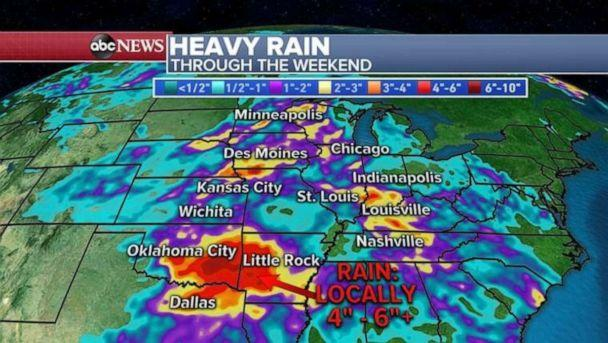 PHOTO: Heavy rainfall is likely to accumulate in Oklahoma and Arkansas over the weekend. (ABC News)