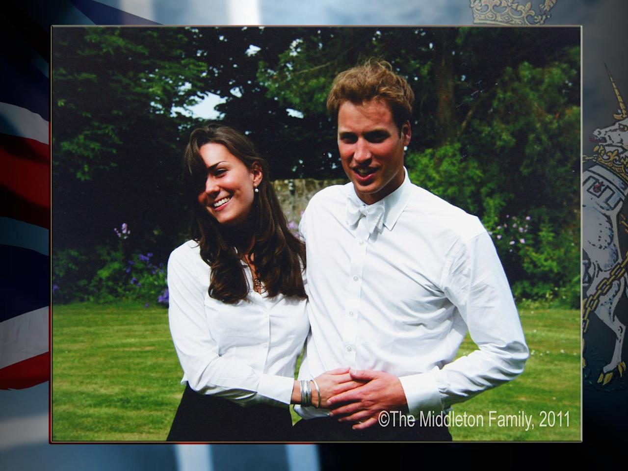 Image made available by The Middleton Family shows Britain's Prince William and Kate Middleton together following their graduation from St. Andrews University, Scotland, on texture, partial graphic