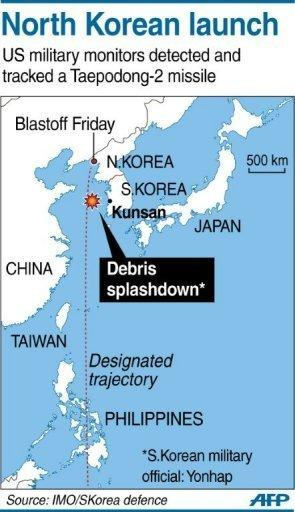 Graphic showing the splashdown zone of the failed North Korean rocket launch Friday. North Korea's heralded long-range rocket test ended in failure Friday, disintegrating in mid-air soon after blast-off and plunging into the sea in a major embarrassment for the reclusive state