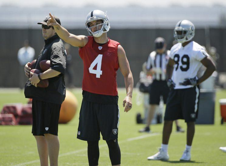 Derek Carr set a deadline of the start of training camp to get a contract extension done. (AP)