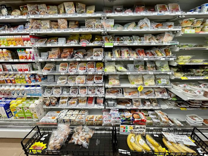 A display of refrigerated items available at a 7-Eleven nearby the Main Press Center in Tokyo.