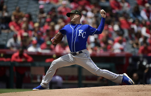 Kansas City Royals starting pitcher Danny Duffy throws to the plate during the second inning of a baseball game against the Los Angeles Angels, Sunday, May 19, 2019, in Anaheim, Calif. (AP Photo/Mark J. Terrill)