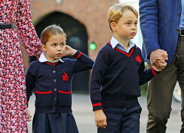 PHOTO: Princess Charlotte arrives for her first day of school at Thomas's Battersea in London, with her brother Prince George and her parents the Duke and Duchess of Cambridge, Sept. 5, 2019, in London. (Aaron Chown/WPA Pool/Getty Images)