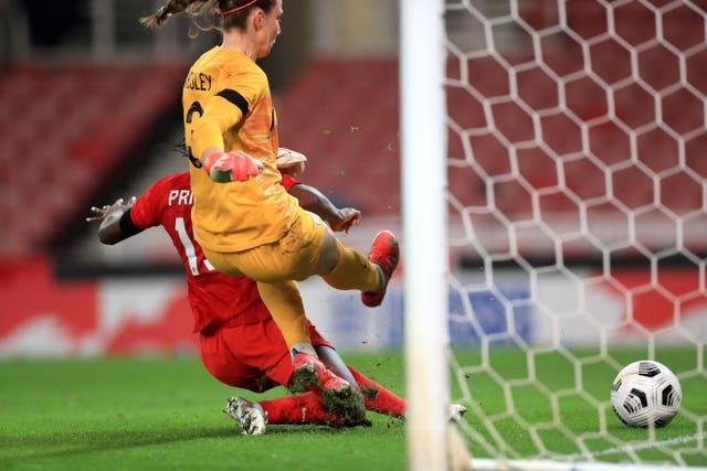 Nichelle Prince scored Canada's second goal as she pounced on a misjudged touch by Karen Bardsley (Mike Egerton/PA).