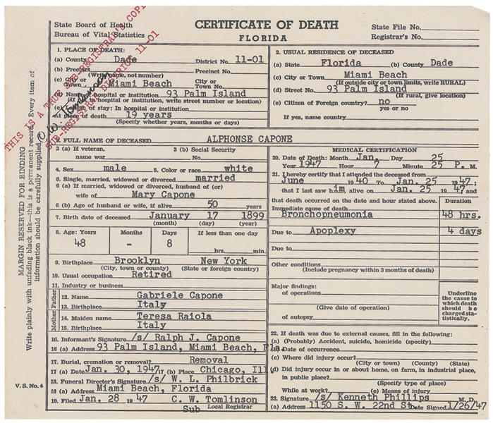 "This image released Thursday, May 30, 2013, by RR Auction in Amherst, N.H., shows the death certificate for gangster Al Capone. The document is part of an ""Old West, Gangsters and Mobsters"" collection that will be auctioned in June. Capone died in 1947 at age 48. (AP Photo/RR Auction)"