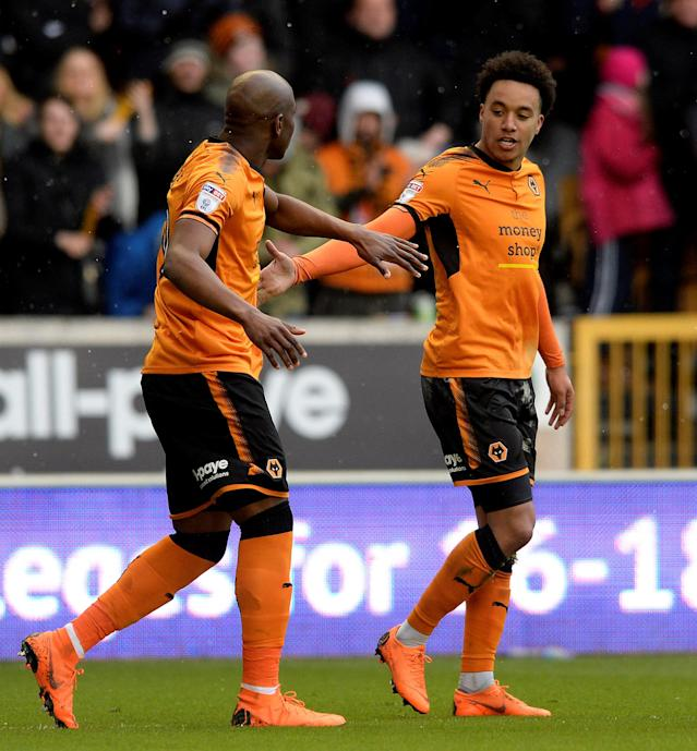 "Soccer Football - Championship - Wolverhampton Wanderers vs Burton Albion - Molineux Stadium, Wolverhampton, Britain - March 17, 2018 Wolves' Helder Costa celebrates scoring their first goal Action Images/Alan Walter EDITORIAL USE ONLY. No use with unauthorized audio, video, data, fixture lists, club/league logos or ""live"" services. Online in-match use limited to 75 images, no video emulation. No use in betting, games or single club/league/player publications. Please contact your account representative for further details."