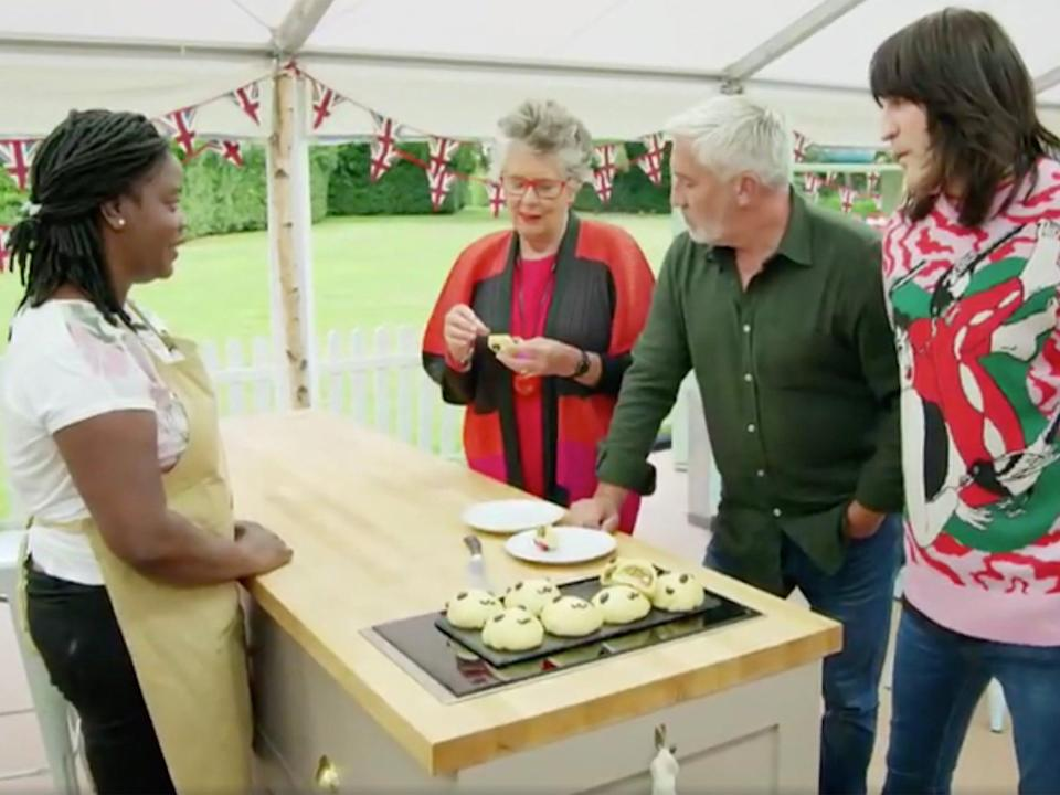 Hermine serves her panda-decorated Japanese buns on 'Bake-Off' (Channel 4)