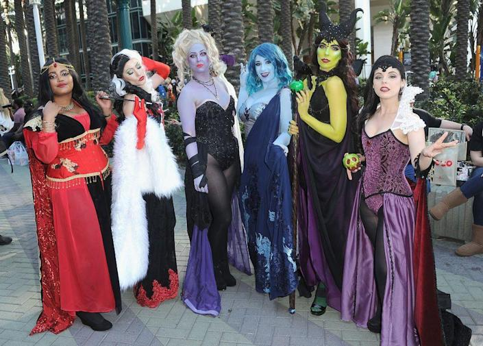 """<p>Get in touch with your dark side by dressing up as Cruella de Vil, Ursula, Hades, Maleficent, or any other Disney baddie. </p><p><a class=""""link rapid-noclick-resp"""" href=""""https://www.amazon.com/LiuzilaiST-Halloween-Costume-Headpiece-Headdress/dp/B07QWKMYCJ?tag=syn-yahoo-20&ascsubtag=%5Bartid%7C10070.g.3083%5Bsrc%7Cyahoo-us"""" rel=""""nofollow noopener"""" target=""""_blank"""" data-ylk=""""slk:SHOP BLACK HORNS"""">SHOP BLACK HORNS</a></p>"""