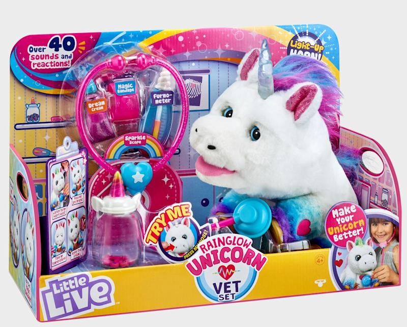 "Rainglow the Unicorn&nbsp;loves to share mystical adventures with you!&nbsp;<strong>Ages:</strong> 3+&nbsp;<strong>Get it at:</strong> <a href=""https://www.toysrus.ca/en/Little-Live-Rainglow-Unicorn-Vet-Set--031280/1D866C60.html"" target=""_blank"" rel=""noopener noreferrer"">Toys R Us</a>, $79.99"