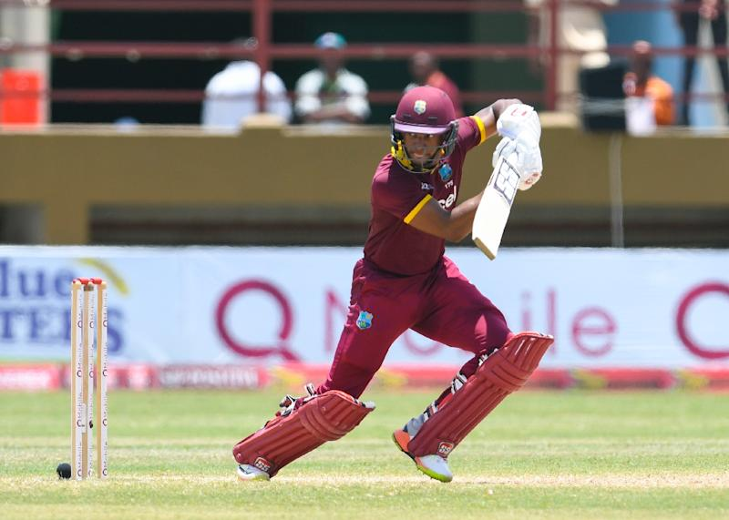 Shai Hope of West Indies hits 4 during the 3rd and final ODI match between West Indies and Pakistan at Guyana National Stadium, Providence, Guyana, April 11, 2017 (AFP Photo/Randy BROOKS)