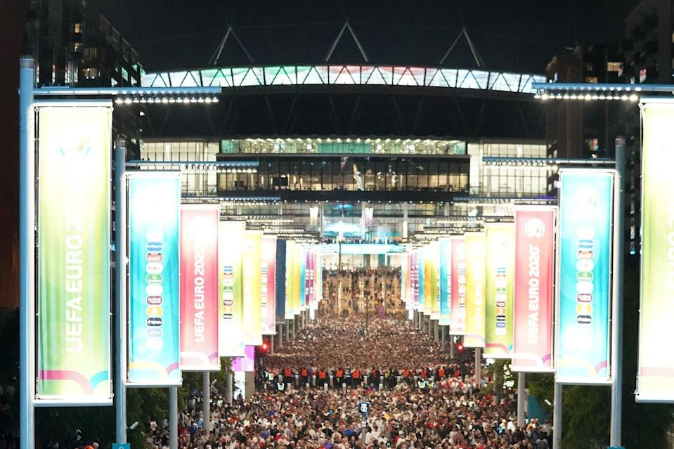 Wembley after the final whistle on Sunday. (PA)