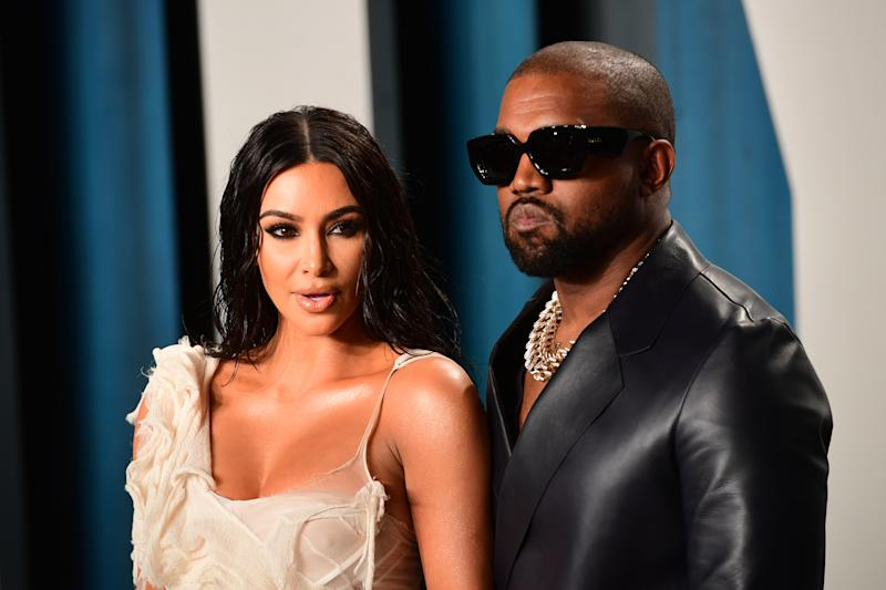 Kim Kardashian and Kanye West attending the Vanity Fair Oscar Party held at the Wallis Annenberg Center for the Performing Arts in Beverly Hills, Los Angeles, California, USA. (Photo by Ian West/PA Images via Getty Images)