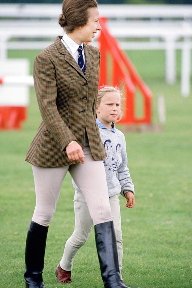 """<div class=""""caption-credit""""> Photo by: Courtesy of Tim Graham/Getty Images</div><div class=""""caption-title"""">Anne, Princess Royal, United Kingdom, 1987</div>Anne, Princess Royal, and her daughter Zara Phillips at Ascot's Family Fun Day. <br> <br> <b>MORE FROM ELLE: <br> <a rel=""""nofollow"""" target="""""""" href=""""http://www.elle.com/pop-culture/celebrities/50-states-face-off?link=rel&dom=yah_life&src=syn&con=blog_elle&mag=elm"""">The Great American Face-Off</a> <br> <a rel=""""nofollow"""" target="""""""" href=""""http://www.elle.com/fashion/celebrity-style/suri-cruise-best-style-moments?link=rel&dom=yah_life&src=syn&con=blog_elle&mag=elm"""">Suri Cruise's Best Fashion Looks</a></b> <br>"""
