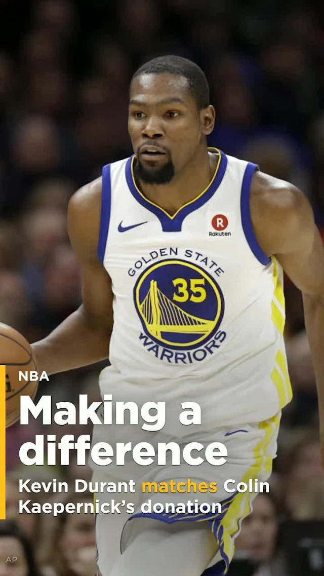 Golden State Warriors star Kevin Durant will be matching a $10,000 donation from Colin Kaepernick to a charity promoting racial equality.