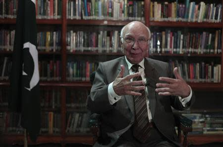 Sartaj Aziz, Pakistani Prime Minister Nawaz Sharif's adviser on foreign affairs, speaks during an interview with Reuters in Islamabad