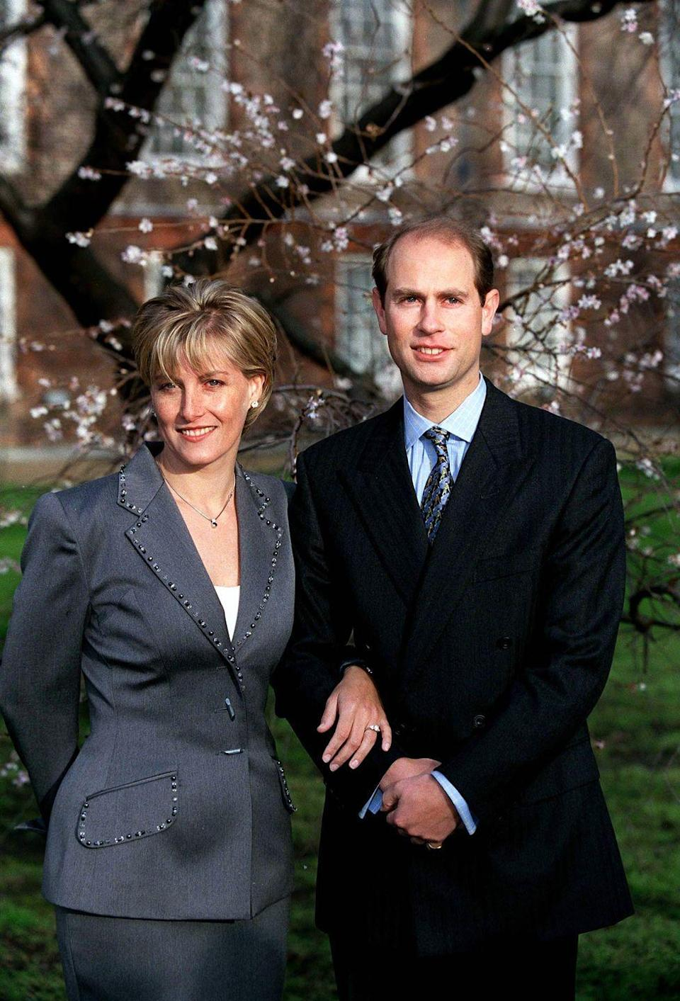 <p>Sophie Rhys-Jones chose a rather conservative gray suit for the day she and Prince Edward announced their engagement.</p>