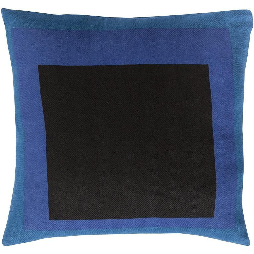 "<a rel=""nofollow"" href=""https://www.overstock.com/Home-Garden/Decorative-Americas-18-inch-Down-or-Polyester-Filled-Pillow/11319627/product.html"">SHOP NOW</a>: Down-filled pillow in blue/black, 18"", by Decorative Americas, $32, overstock.com"