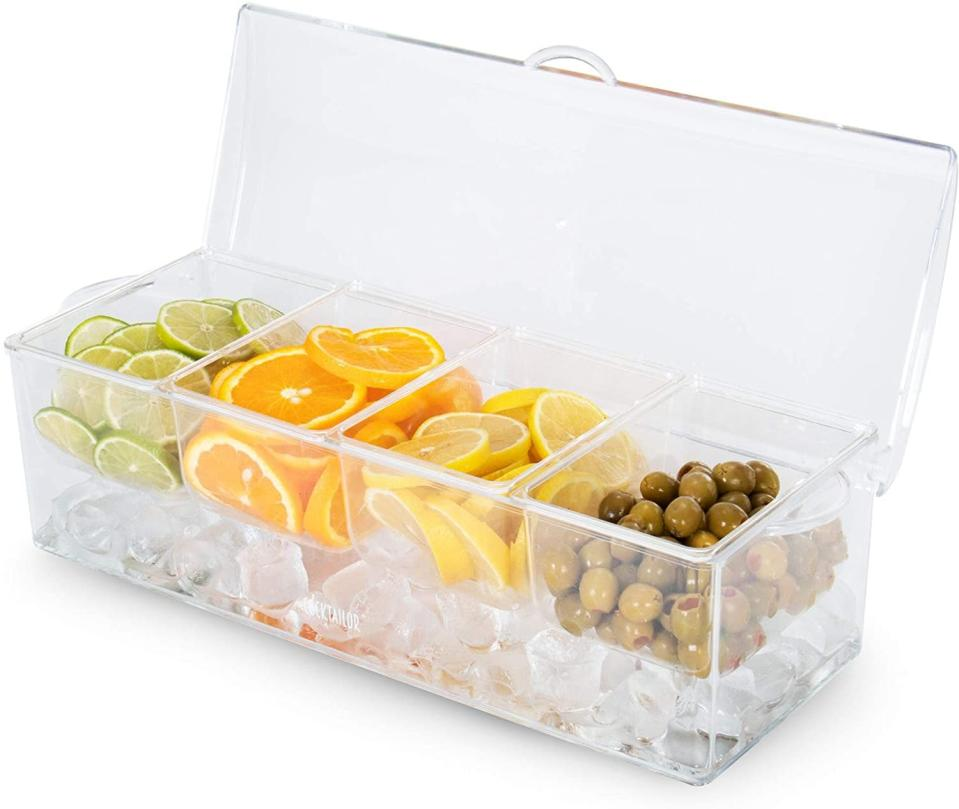 <p>If you love a good garnish, you'll need the <span>Chilled Garnish Station </span> ($25) to keep your lemons, limes, olives, and more fresh.</p>