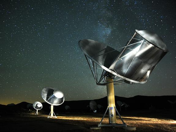 This photo of the Allen Telescope Array was taken by SETI astronomer Seth Shostak. The SETI (Search for Extraterrestrial Intelligence) Institute uses this array of radio dishes in Northern California to search for signals from a civilization be
