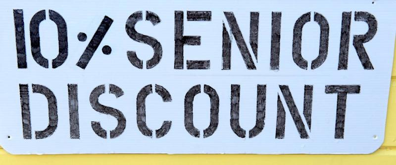 Horizontal photo of sign offering seniors a discounted price