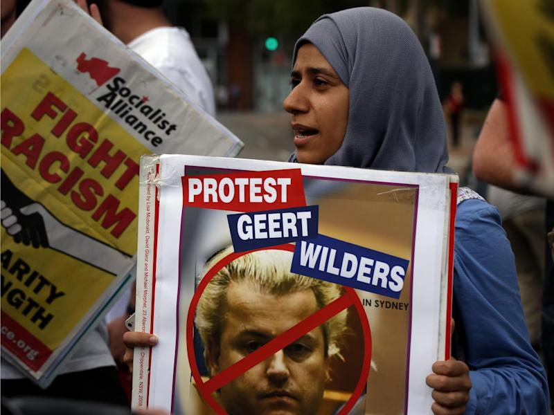 An Australian protester outside a Sydney venue where Dutch anti-Islam MP Geert Wilders was speaking: Reuters