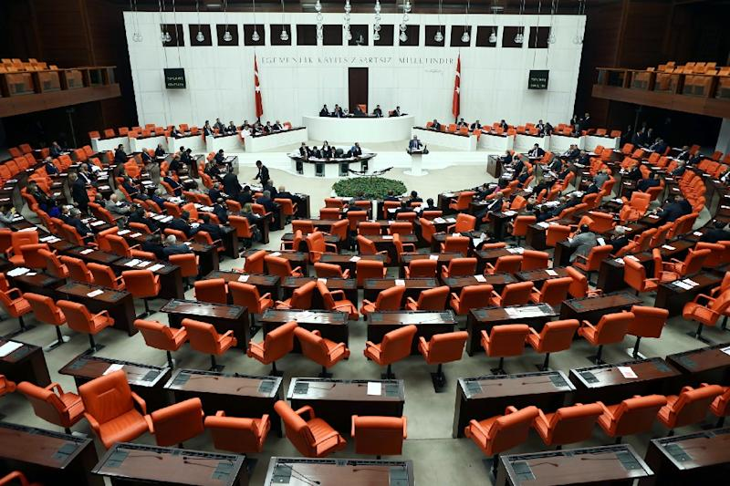 Turkish lawmakers convene to vote at the Parliament in Ankara, in 2014 (AFP Photo/Adem Altan)