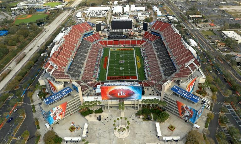 An aerial view of Raymond James Stadium, venue for Sunday's Super Bowl