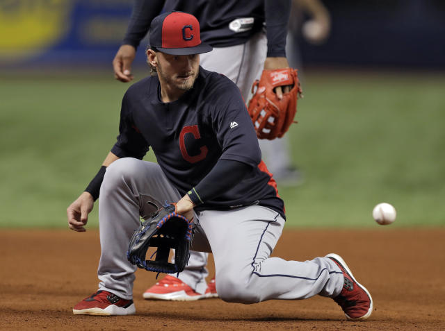 Cleveland Indians third baseman Josh Donaldson takes infield practice before a baseball game against the Tampa Bay Rays Monday, Sept. 10, 2018, in St. Petersburg, Fla. Donaldson was acquire in a trade with the Toronto Blue Jays. (AP Photo/Chris O'Meara)