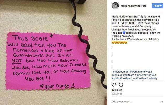 Mariah shared this note from her appointment. Photo: Instagram