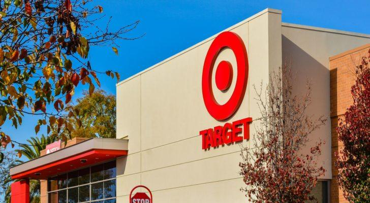 Image of the Target (TGT) logo on a storefront.