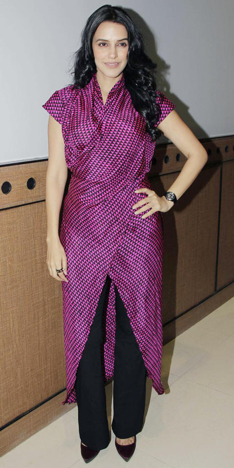 Neha's look is unconventional but works somehow. Don't you think?