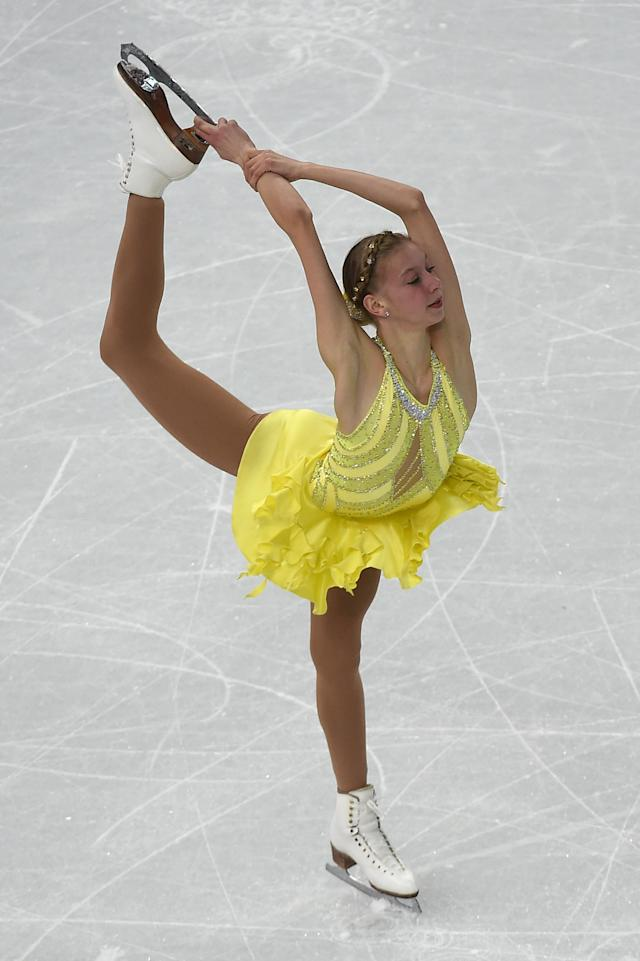 <p>Polina Edmunds' unitard had it all – bright colors, big gems, sheer paneling. The 2014 Olympian has consistently gone bold with her outfits at skating competitions including this purple number and a bright yellow dress in Sochi. </p>