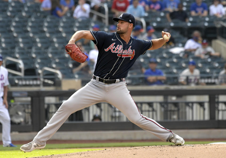 Atlanta Braves pitcher Kyle Muller delivers the ball to the New York Mets during the first inning of the first game of a baseball doubleheader Monday, July 26, 2021, in New York. (AP Photo/Bill Kostroun)