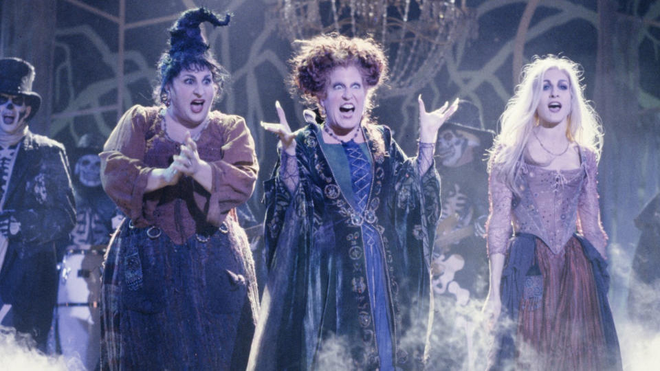 Kathy Najimy, Bette Midler and Sarah Jessica Parker portrayed witch sisters in 'Hocus Pocus'. (Credit: Disney)