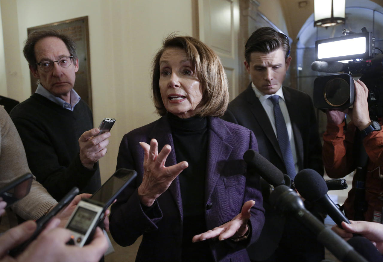 Speaker of the House Nancy Pelosi, D-Calif., takes questions from reporters, Friday, Jan. 18, 2019, on Capitol Hill in Washington. (AP Photo/J. Scott Applewhite)