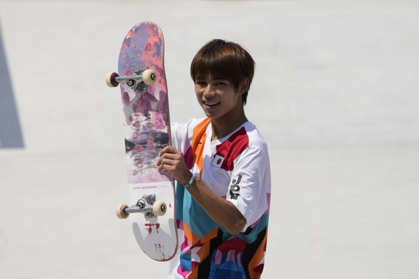 Yuto Horigome of Japan reacts after skating during the men's street.