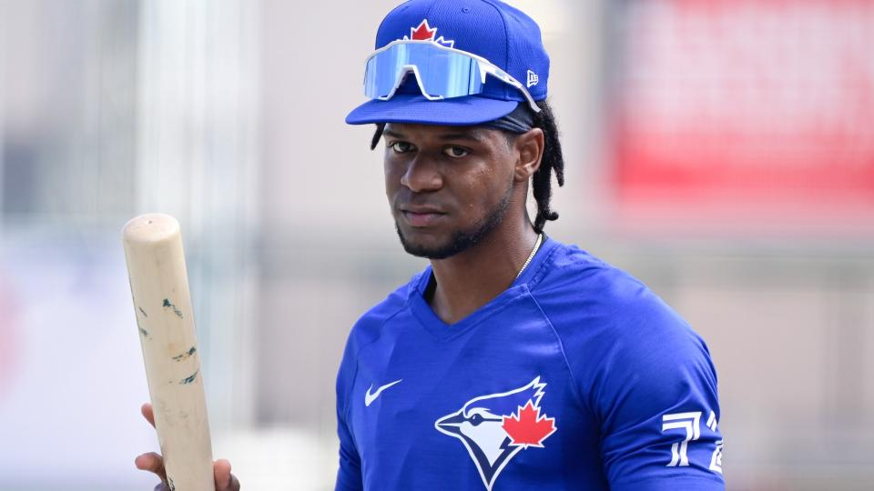 LAKELAND, FLORIDA - MARCH 19: Otto Lopez #72 of the Toronto Blue Jays looks on prior to the game between the Toronto Blue Jays and the Detroit Tigers during a spring training game at Publix Field at Joker Marchant Stadium on March 19, 2021 in Lakeland, Florida. (Photo by Douglas P. DeFelice/Getty Images)