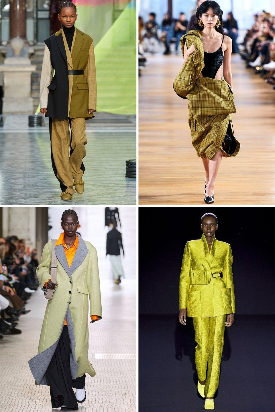<p>After popping up on several fall 2020 runways, green in shades of chartreuse, mint, and olive quickly began taking over Instagram and the street style scene. The verdant hue feels fresh, especially for the fall/winter season, and looks good in both apparel and accessory forms.</p><p><em>Clockwise from top left: Roksanda, Y/Project, Sally Lapointe, Nina Ricci</em></p>