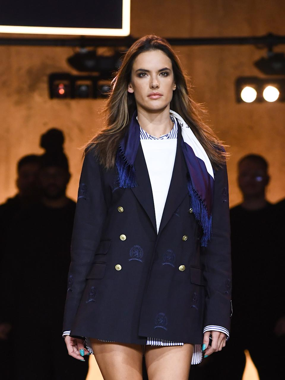 Alessandra Ambrosio walks the runway at the Tommy Hilfiger show during London Fashion Week. (Getty Images)