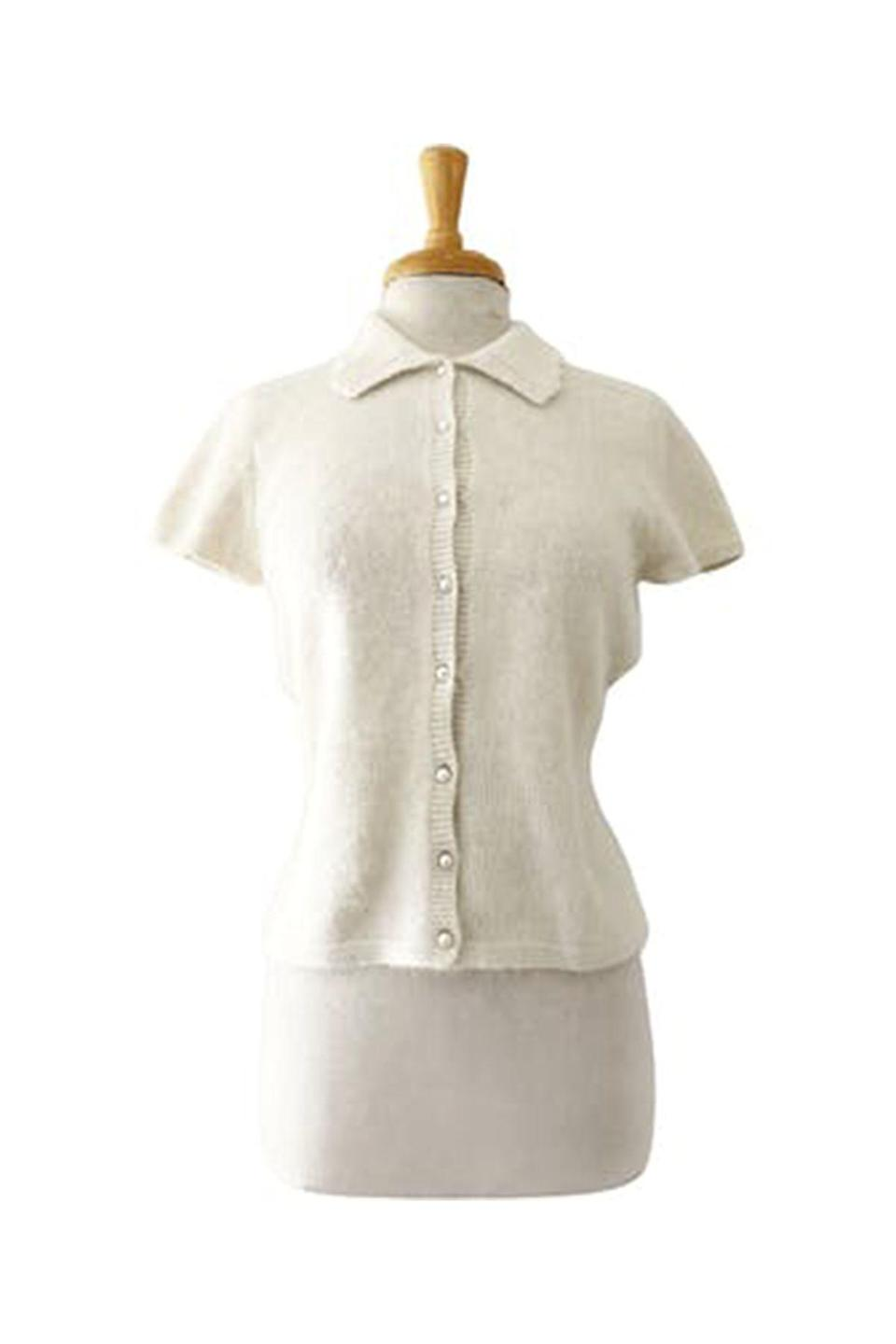 """<p><strong>Thrilling Vintage</strong></p><p>shopthrilling.com</p><p><strong>$52.00</strong></p><p><a href=""""https://shopthrilling.com/collections/clothing/products/90-s-ivory-pearl-button-up-short-sleeve-sweater-top-by-lauren-ralph-lauren"""" rel=""""nofollow noopener"""" target=""""_blank"""" data-ylk=""""slk:Shop Now"""" class=""""link rapid-noclick-resp"""">Shop Now</a></p><p>Shopping second-hand is always the most sustainable route, and Thrilling Vintage makes finding the best vintage pieces an effortless feat.</p>"""