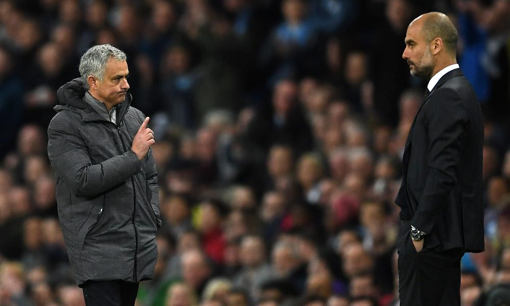 José Mourinho and Pep Guardiola during the dismal midweek derby match between Manchester United and Manchester City.