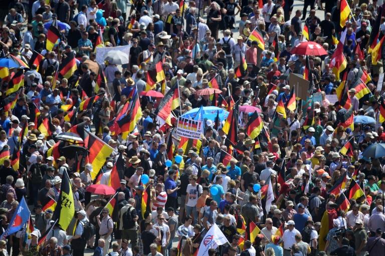 """Far-right Alternative for Germany supporters have joined a """"demonstration for the future of Germany"""" in Berlin"""