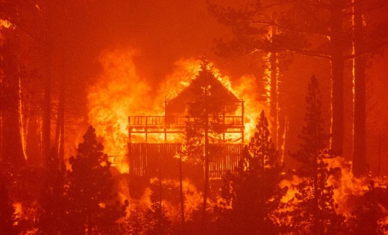 The resort town of South Lake Tahoe was saved from the Caldor Fire, but nearby properties like this one were not so lucky (AFP/JOSH EDELSON)