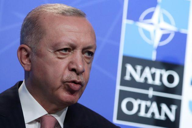Turkey's President Tayyip Erdogan holds a news conference during the NATO summit at the Alliance's headquarters in Brussels, Belgium June 14, 2021. REUTERS/Yves Herman/Pool (Photo: Yves Herman via Reuters)