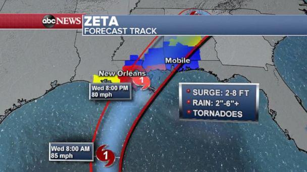 PHOTO: Zeta will quickly speed off to the northeast while rapidly weakening after landfall on Wednesday night.  (ABC News)