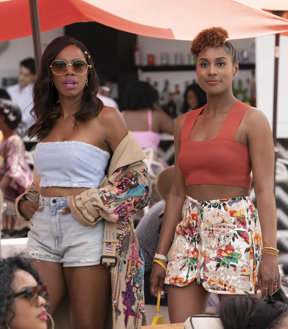 <ul> <li><strong>What to wear for Issa:</strong> She typically rocks a casual look, so anything cute and comfy works. But Issa also knows how to show out, so feel free to take the sexy-chic route with a crop top and high-waisted shorts.</li> <li><strong>What to wear for Molly:</strong> Whatever Molly wears, it's going to look like it came straight off the runway, so definitely dress to the nines in a high-fashion ensemble. Oh, and make sure you have a fabulous coat to match.</li> </ul>
