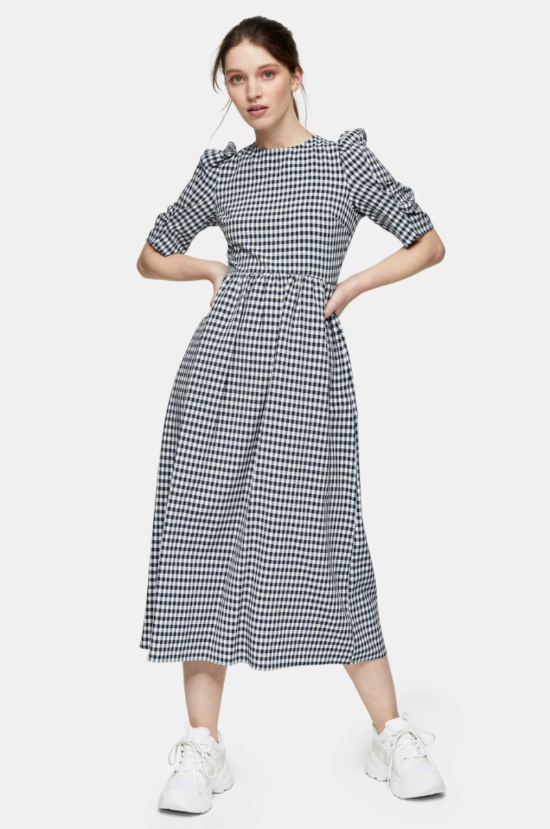 Black And White Gingham Cross Back Smock Midi Dress. Image via Topshop.